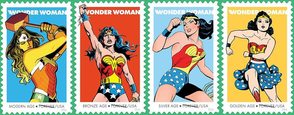 Selos comemorativos dos 75 anos da Wonder Woman, © U.S. Postal Service, DC Entertainment