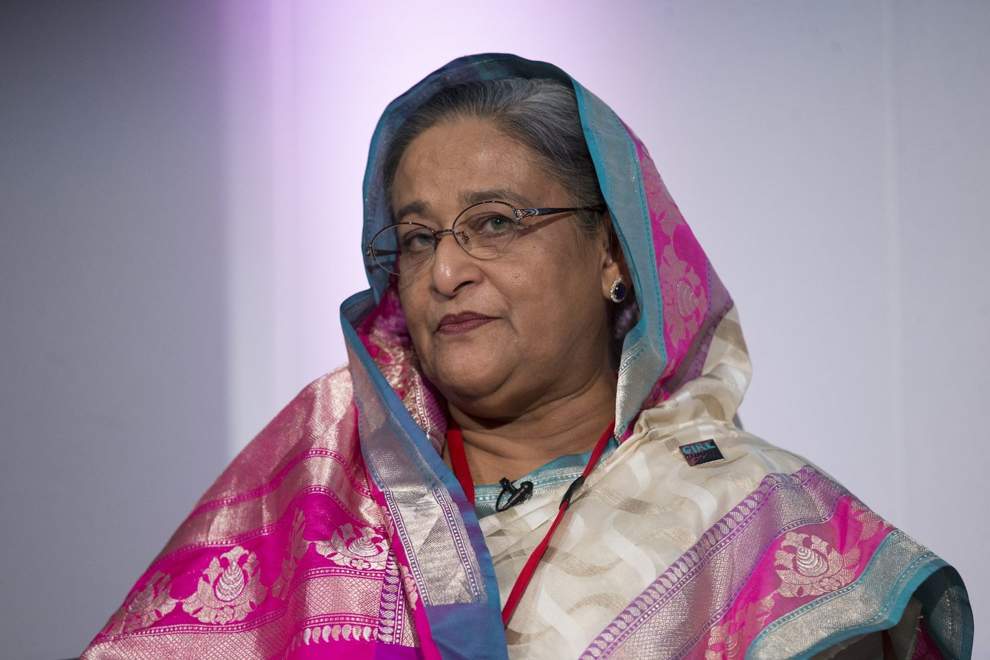 LONDON, ENGLAND - JULY 22: Sheikh Hasina, the Prime Minister of Bangladesh, speaks at the 'Girl Summit 2014' in Walworth Academy on July 22, 2014 in London, England. At the one-day summit the government has announced that parents will face prosecution if they fail to prevent their daughters suffering female genital mutilation (FGM). (Photo by Oli Scarff/Getty Images)