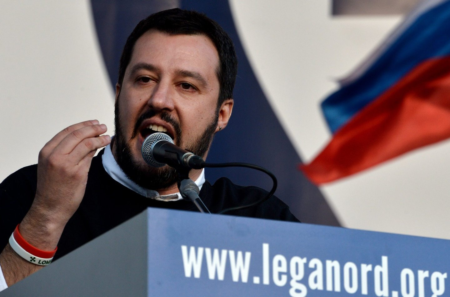 Italian Northern League (Lega Nord) party leader Matteo Salvini speaks during a rally against the Italian government's policy in Rome on February 28, 2015. AFP PHOTO / TIZIANA FABI (Photo credit should read TIZIANA FABI/AFP/Getty Images)