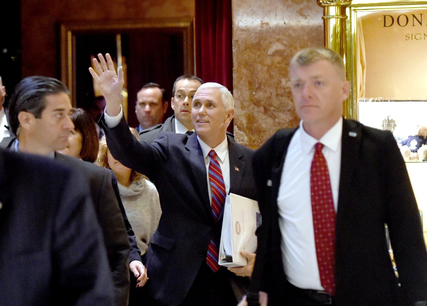 Vice President-elect Mike Pence(C) arrives at Trump Tower for meetings with President-elect Donald Trump November 15, 2016 in New York. Trump,the 70-year-old Republican billionaire who takes office in just nine weeks, was to meet with Vice President-elect Mike Pence to discuss the next round of cabinet appointments. / AFP / TIMOTHY A. CLARY (Photo credit should read TIMOTHY A. CLARY/AFP/Getty Images)