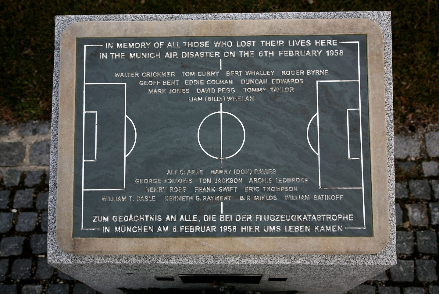 KIRCHTRUDERING, GERMANY - FEBRUARY 05: A memorial stone recalls the place of the Munich air desaster of the 6th February 1958, as 23 people including 8 members of the Manchester United football team lost their lives, seen on February 5, 2008 in Kirchtrudering near Munich, Germany. ManU supporters will commemorate the 50th anniversary at the scene of the accident. (Photo by Johannes Simon/Getty Images)