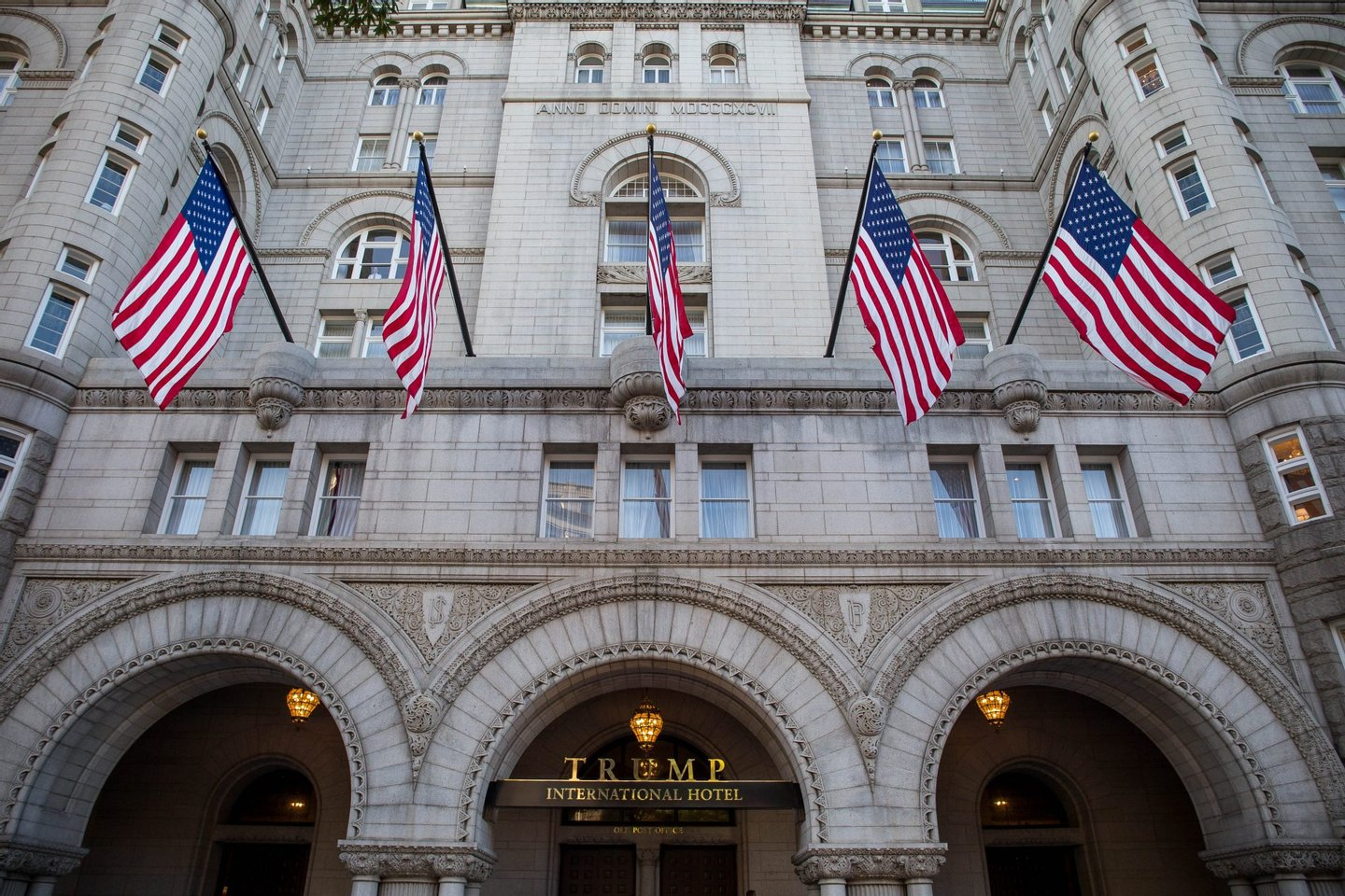 The Trump International Hotel, Washington is pictured before its grand opening October 26, 2016 in Washington, DC. / AFP / ZACH GIBSON (Photo credit should read ZACH GIBSON/AFP/Getty Images)