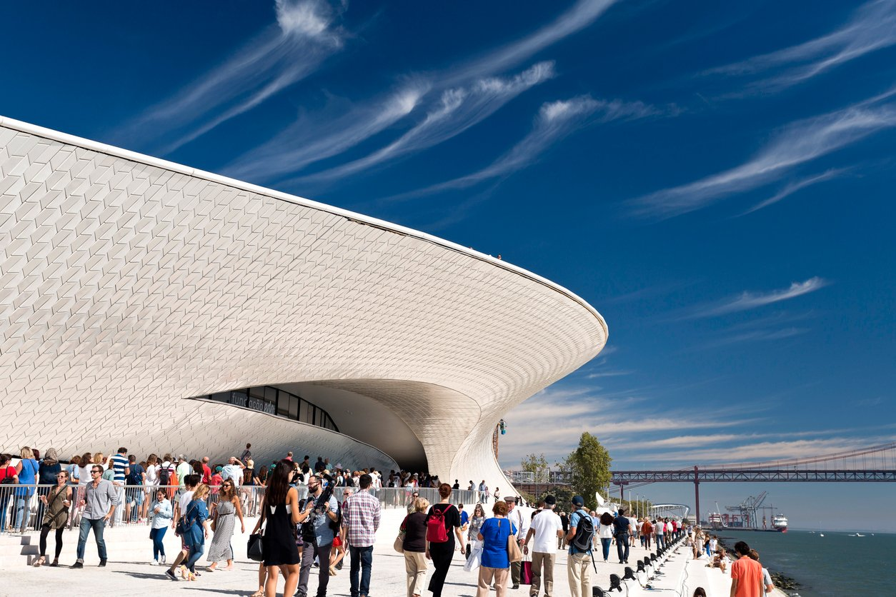 Maat, Ceramics, Facade, Art, Tile, Opening, Spectator, New, Architecture, Technology, Crowd, People, Lisbon, Portugal, Shark, Tagus River, River, Museum, Bridge - Man Made Structure, Ceramic, Opening Event,