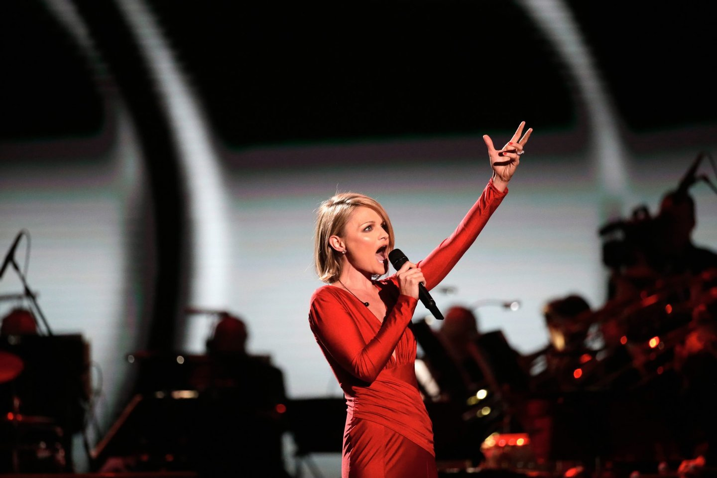WASHINGTON, DC - JANUARY 20:  Singer Erin Boheme entertains the crowd at the Liberty Inaugural Ball on January 20, 2017 in Washington, DC.  The Liberty Ball is the first of three inaugural balls that President Donald Trump will be attending.  (Photo by Rob Carr/Getty Images)