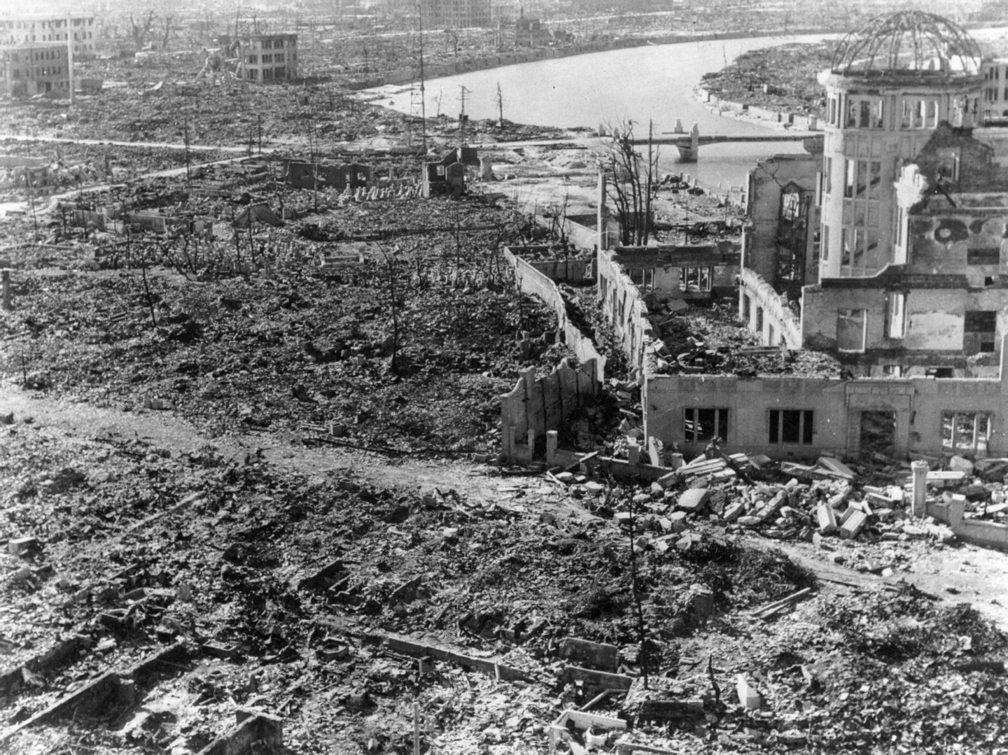 Devastation at Hiroshima, after the atomic bomb was dropped. The building on the right was preserved as the Hiroshima Peace Memorial, Atomic Bomb Dome or Genbaku Dome.(Photo by Keystone/Getty Images)