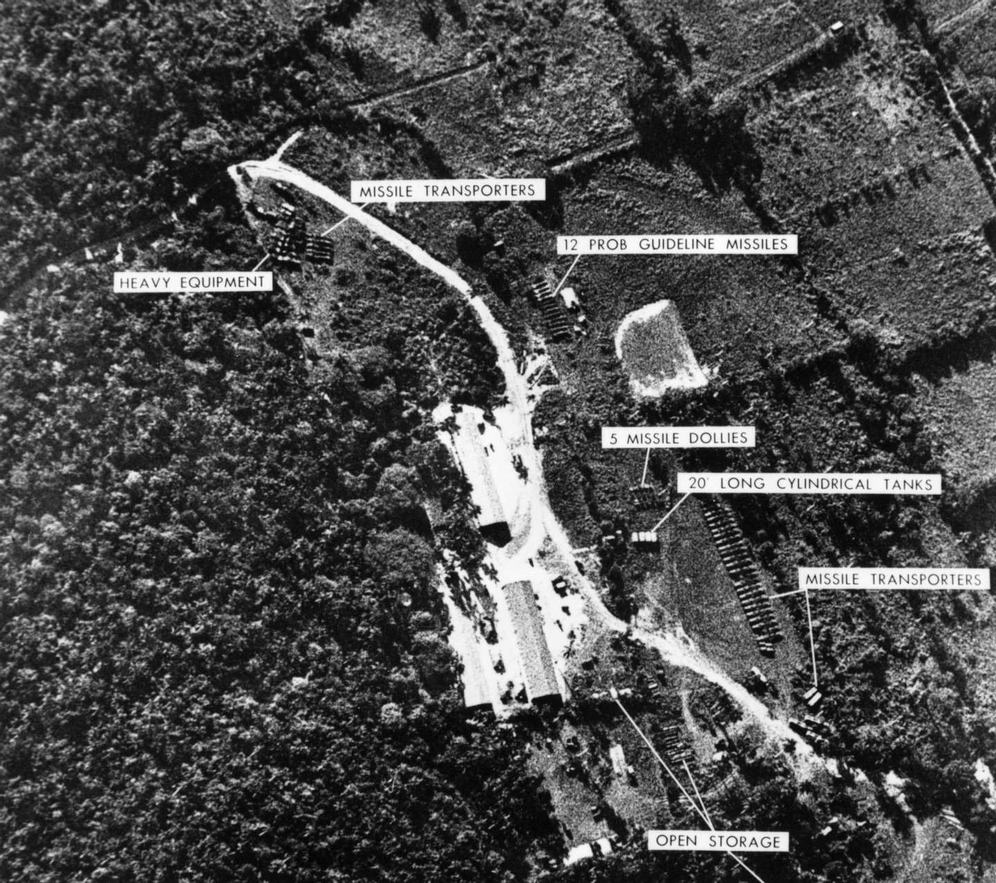 WASHINGTON - OCTOBER 24, 1962: (EDITORIAL USE ONLY) (FILE PHOTO) A photograph of a ballistic missile base in Cuba was used as evidence with which U.S. President John F. Kennedy ordered a naval blockade of Cuba during the Cuban missile crisis October 24, 1962. Former Russian and U.S. officials attending a conference commemorating the 40th anniversary of the missile crisis October 2002 in Cuba said that the world was closer to a nuclear conflict during the 1962 standoff between Cuba and the U.S., than governments were aware of. (Photo by Getty Images)