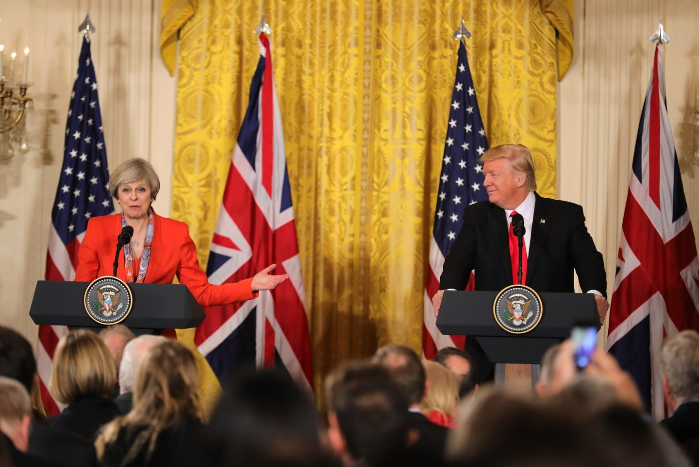 WASHINGTON, DC - JANUARY 27: British Prime Minister Theresa May speaks during a joint press conference with U.S. President Donald Trump in The East Room at The White House on January 27, 2017 in Washington, DC. British Prime Minister Theresa May is on a two-day visit to the United States and will be the first world leader to meet with President Donald Trump.  (Photo by Christopher Furlong/Getty Images)