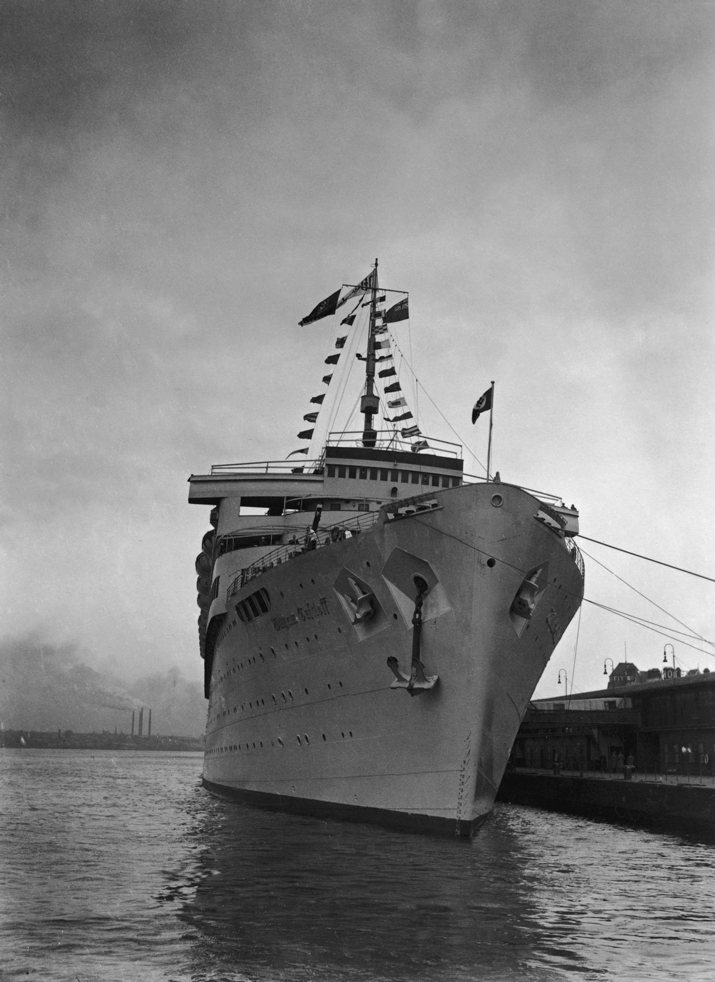 The German luxury liner Wilhelm Gustloff at Tilbury, 10th April 1938. The ship is about to take German residents of the United Kingdom into international waters, where they can vote in the plebiscite on the annexation of Austria. (Photo by Harrison/Topical Press Agency/Hulton Archive/Getty Images)