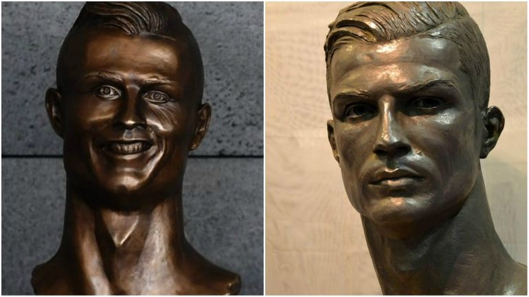 06905b6675c43 À esquerda: o busto de Ronaldo no Aeroporto da Madeira. À direita: a  escultura do sevilhano Arteaga, no Museu do Real
