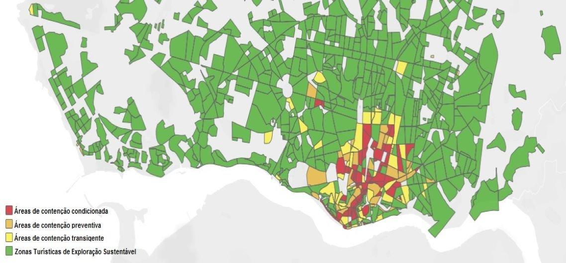 Verde: zona turística de exploração sustentável; Amarelo: zonas de contenção transigente; Laranja: zonas de contenção preventiva; Vermelho: área de contenção condicionada