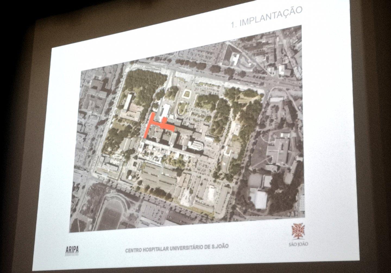 Assinalada a vermelho, a localização da nova Ala Pediátrica do Hospital de São João