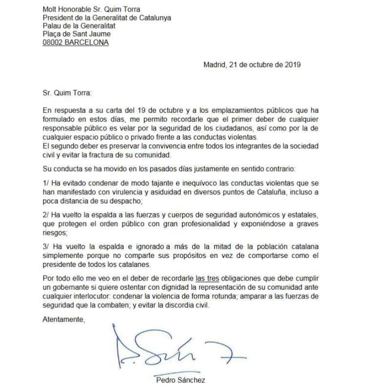 Carta do primeiro-ministro espanhol, Pedro Sánchez, ao presidente da Generalitat, Quim Torra (fonte El País)