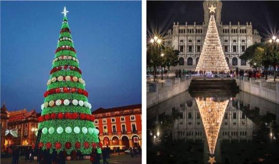 Árvores de Natal de Lisboa e Porto em 2018. Imagens de Pinterest.