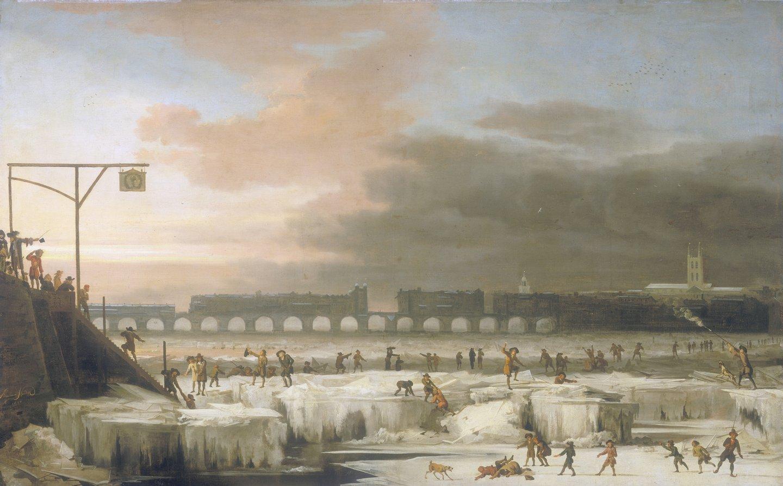 'The Frozen Thames', 1677. Artist: Abraham Hondius