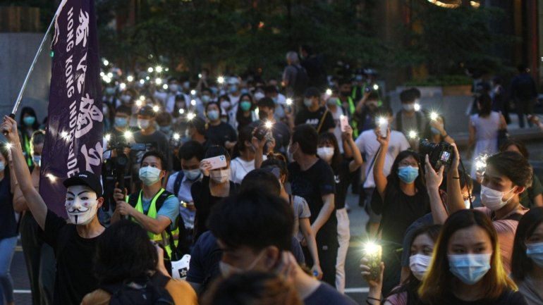 Hong Kong police dispersed protesters on anniversary of protests