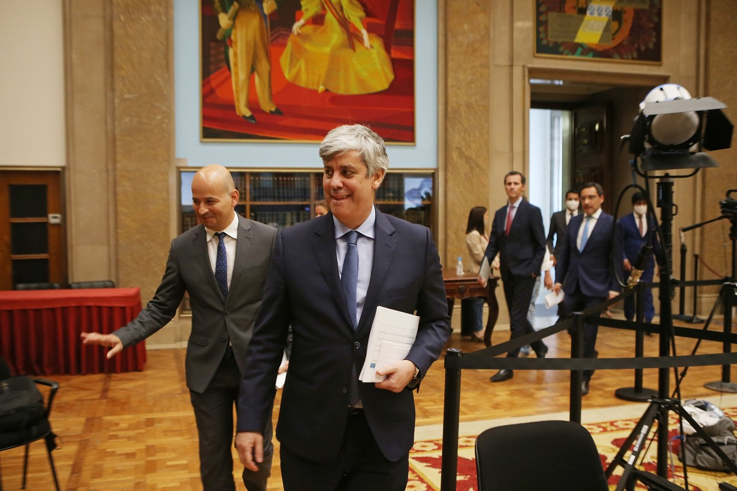 The Minister of State and Finance, Mário Centeno (C), flanked by the Secretary of State for the Budget, João Leão (L), on arrival for the presentation of the Supplementary Budget 2020 at the Salão Nobre of the Ministry of Finance, in Lisbon, June 9, 2020. After five years as António Costa's Minister of Finance, Mário Centeno will leave the Government, being replaced from next Monday by João Leão, current Secretary of State for the Budget. ANTÓNIO PEDRO SANTOS/LUSA