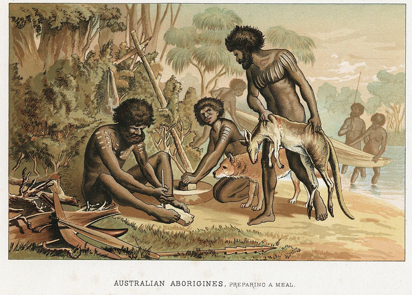 Australian natives preparing meal from animal they have hunted.