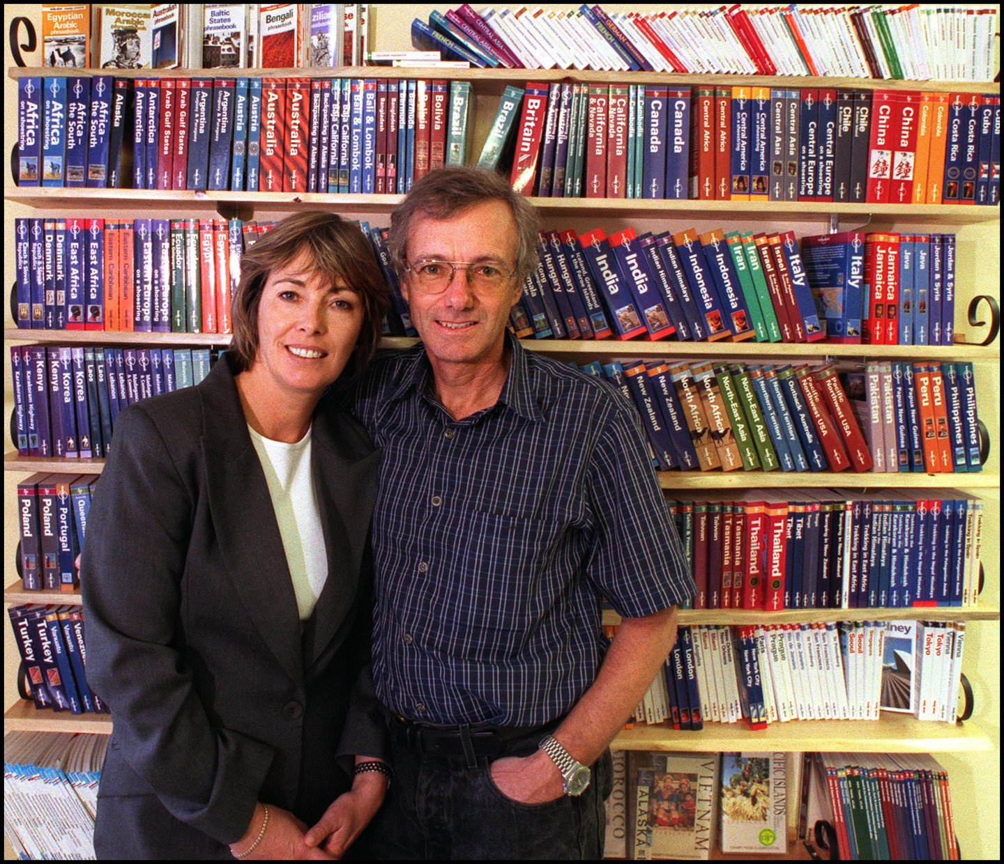 Lonely Planet Guide Books Founders, Maureen and Tony Wheeler at their office in