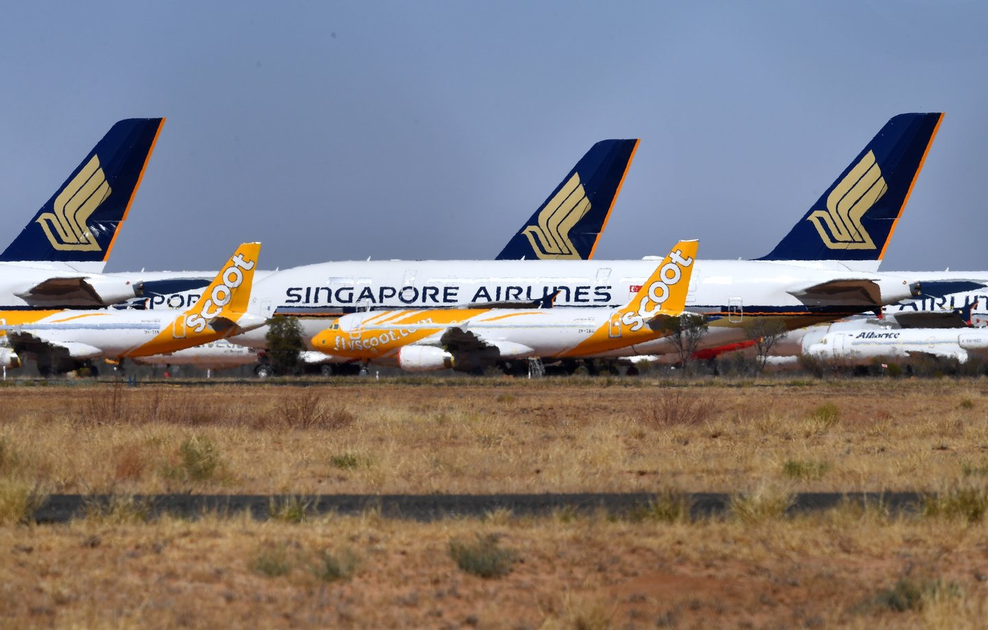 epa08634977 Airbus A320 airplanes of Singapore low-cost carrier Scoot Tigerair (front) and Airbus A380 aircrafts of Singapore Airlines, grounded due to the Coronavirus (COVID-19) pandemic, are parked at the Asia Pacific Aircraft Storage facility in Alice Springs, Australia, 30 August 2020. Aircrafts including the Airbus A380s and Boeing MAX 8s are being stored at the Alice Springs facility because central Australia's dry climate makes it a suitable place for long-term aircraft storage. EPA/DARREN ENGLAND AUSTRALIA AND NEW ZEALAND OUT