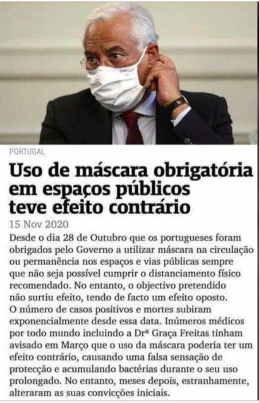 suposta notícia sobre o uso obrigatório de máscara ter afectado o estado da pandemia em Portugal.