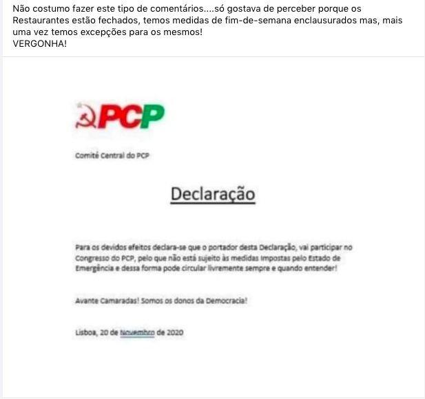 Falsa declaração atribuída ao Comité Central do PCP.