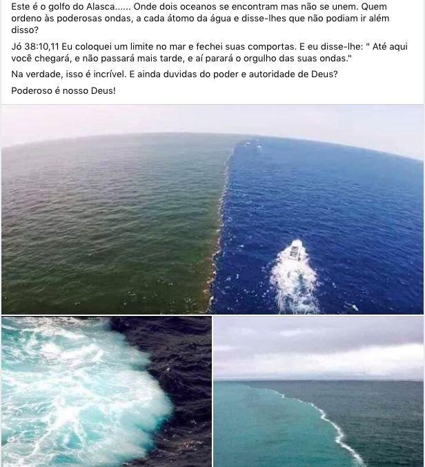 Fotografias sobre um suposto encontro entre dois oceanos.